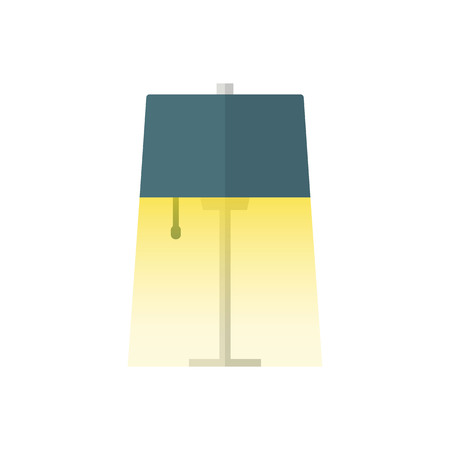 Table lamp Flat Icon With light. On White Background.Vector Design