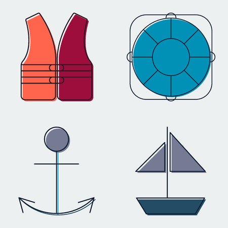 Travel and Tourism Line Icons Set.Silhouette Flat Design Symbols And Signs. Vector Illustration Illustration