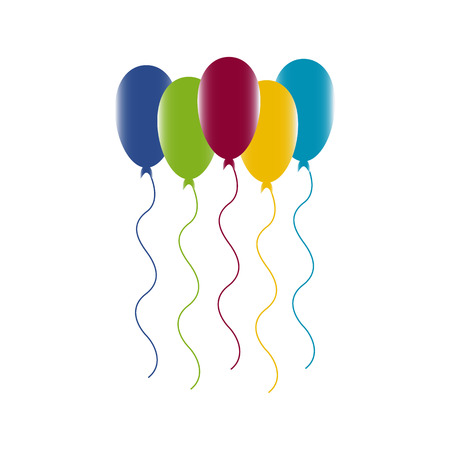 Colourful birthday or party balloons. For web design,art, surprise helium string.Vector Illustration  イラスト・ベクター素材