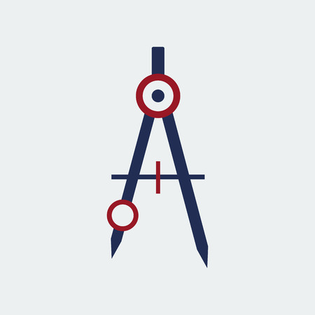 Drawing Compass Icon Stationery.Flat Design.Vector Design