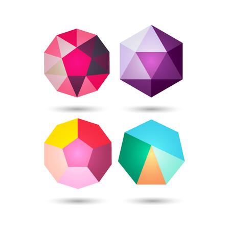 Set of Polygonal geometric figures.Logo design on white background.Vector Illustration