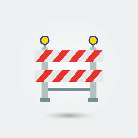 Under construction sign.Flat color style.Industry design.Road construction.Vector Illustration
