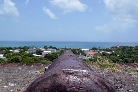 horrizon: Cannon pointed over a city from Fortin Conde de Mirasol, Vieques Puerto Rico Stock Photo