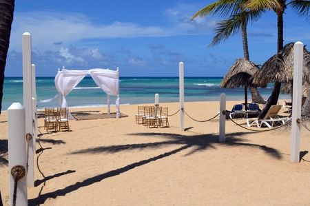 This is a photo of a gazebo used for beach weddings