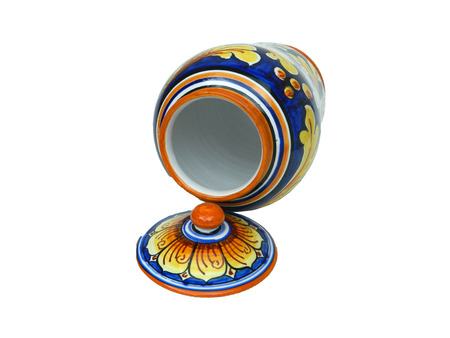 looking inside: This is a photo of an Oriental Jar looking inside with the lid off in front on a white background
