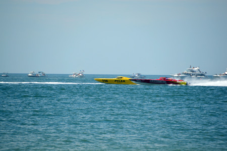 CLEARWATER, FLUSA - SEPTEMBER 28:  Super boats Pilar and Twisted Metal competing in an offshore race on September 28, 2014 in Clearwater Florida Editorial