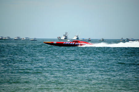 CLEARWATER, FLUSA - SEPTEMBER 28:  Super boat Lucas Oil taking a warmup run prior to competing in an offshore race on September 28, 2014 in Clearwater Florida Editorial