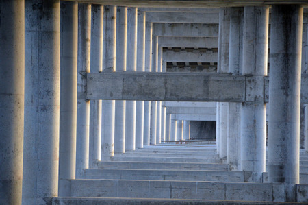 A bridge under structure of concrete pilars and beams Stock Photo