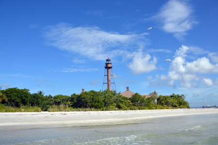 Sanibel lighthouse from the water Banco de Imagens