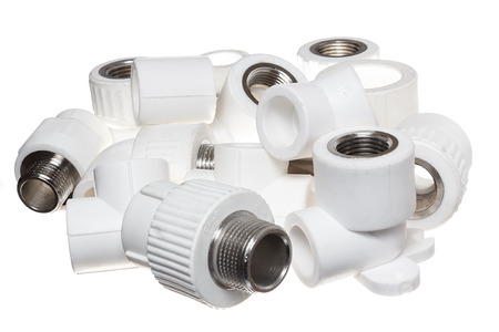 close fitting: Polypropylene (PVC) fittings for plumbing and sanitary system Stock Photo