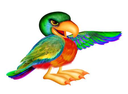 Parrot naar rechts wijzen Stockfoto