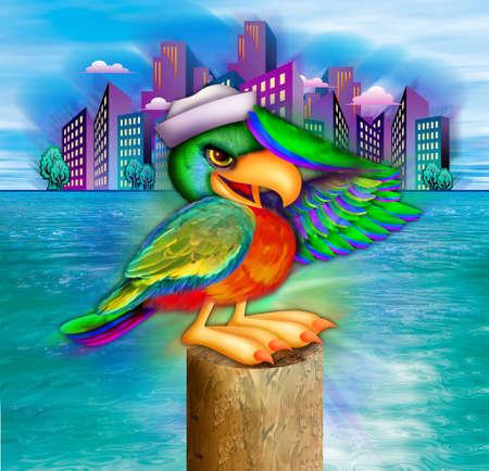 Parrot met matroos hoed saluting op havencorporaties Stockfoto