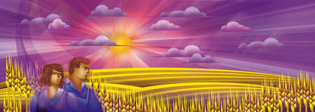 Golden farm of wheat and sunrise with farmers Stock Photo