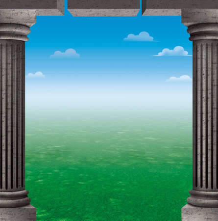 column frame background with grass and sky