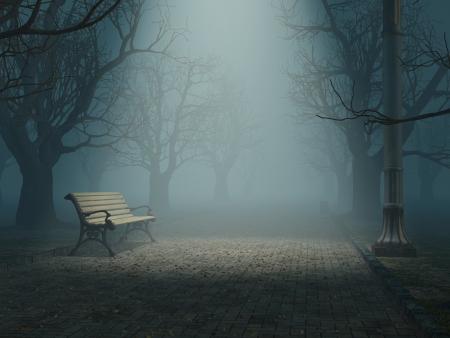 banc de parc: Lonely banc de parc brumeux