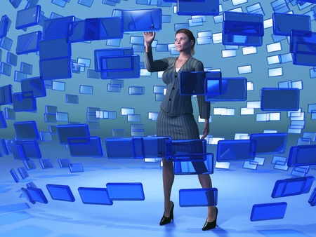 businesswoman touching blue screen photo