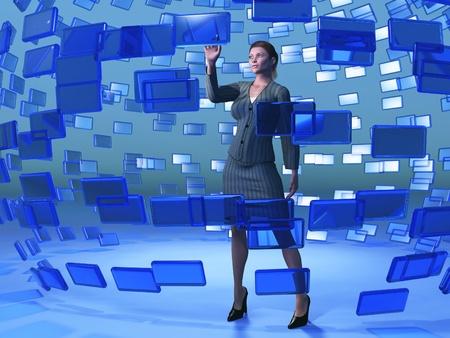 businesswoman touching blue screen photo
