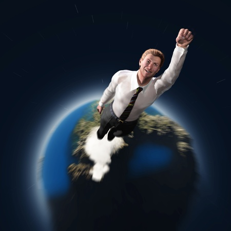flying man: rising hero businessman Stock Photo