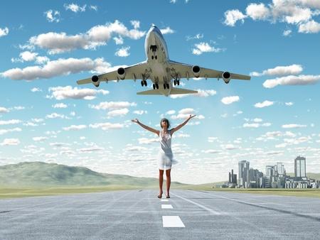 woman and soaring flight  photo