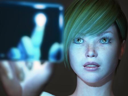 girl touching blue screen Stock Photo - 8669739