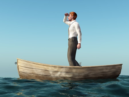 drifting: man drifting in a boat Stock Photo