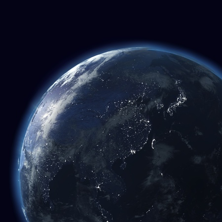 satellite view: night globe with city lights east, japan, china, asia