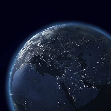 night globe with city lights, asia, europe, africa, arabia photo