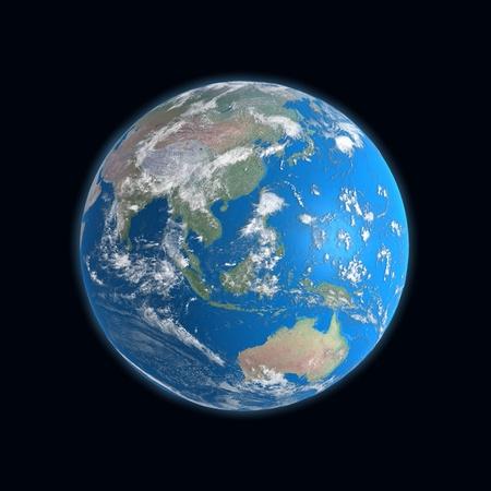 detailed Earth map, China, indonesia, australia