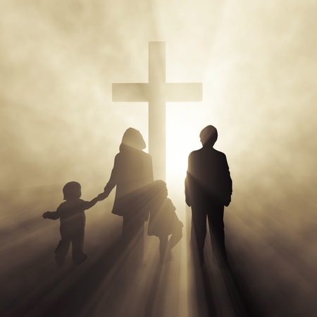 resurrected: christian family before a cross  Stock Photo