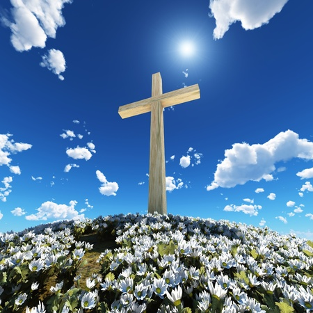 cross surrounded by flowers  Stock Photo