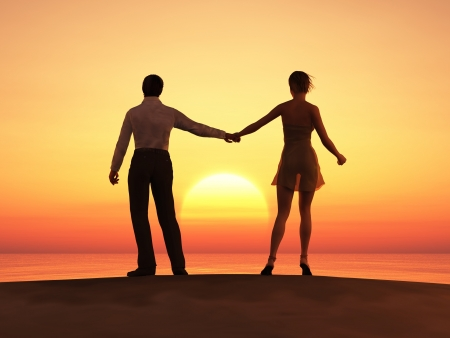 couple holding hands: romantic couple at sunset