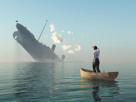 gered man in de boot kijken op scheepswrak