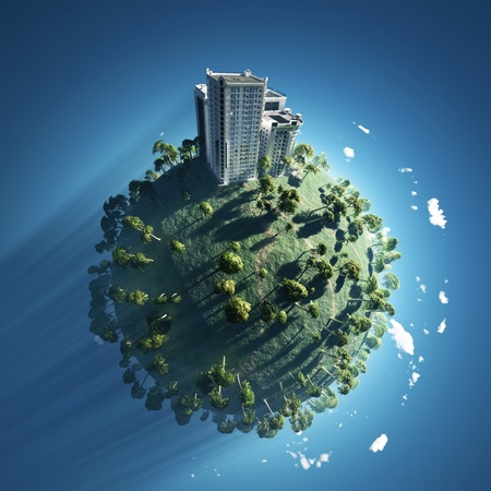 building on green planet  photo