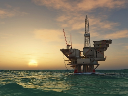 sun oil: Sea Oil Rig Drilling Platform  Stock Photo