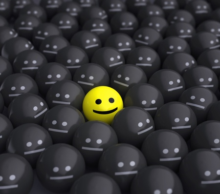 concept idea: smile  in the middle of grey crowd Stock Photo