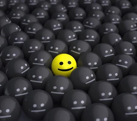uśmiech w środku szarego tłumu