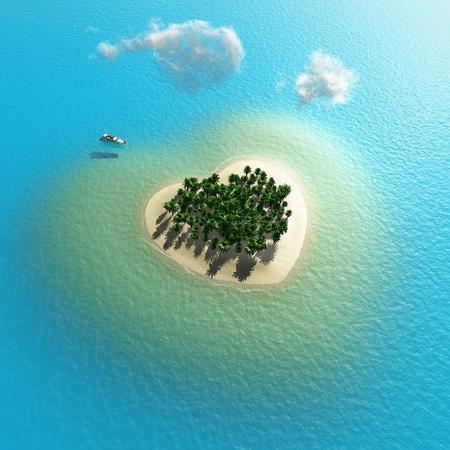 tropical island: heart-shaped tropical island