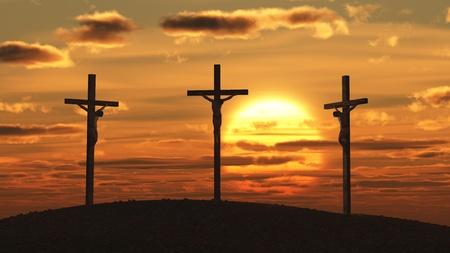 jesus on cross: la crucifixión de la puesta del sol Foto de archivo
