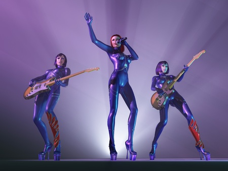 sexy guitar: female rock band in concert