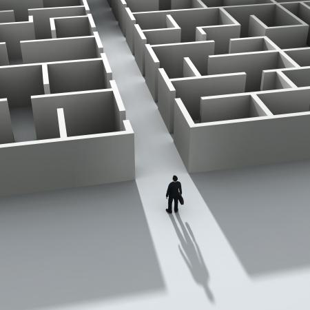 zakenman het invoeren van het labyrint