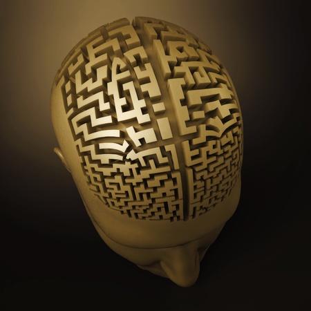 doolhof: labyrint in het menselijk brein Stockfoto