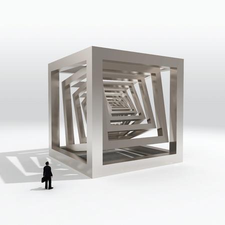 businessman looking on big cube