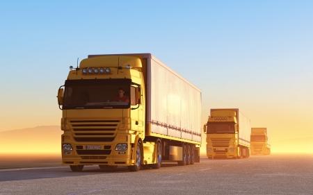transporte de mercancia: convoy de camiones en la carretera