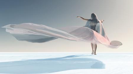 Four Seasons, woman at winter photo