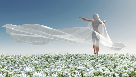 Four Seasons, woman at spring photo