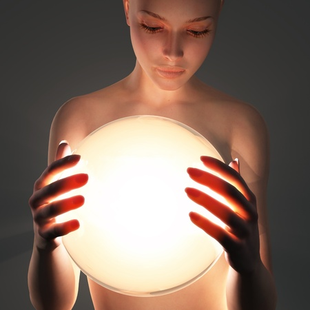 woman holding light sphere Stock Photo - 11545429