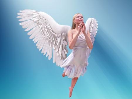 praying white angel