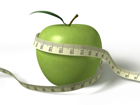 meter: tape measure wrapped around the green apple