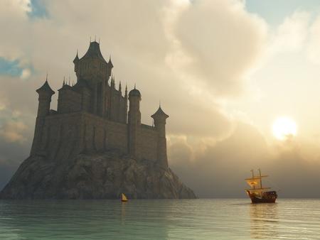 castillo medieval: nave antigua en la salida del sol
