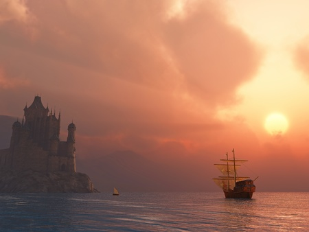 historical ship: ancient vessel at sunrise  Stock Photo